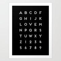 Letter Love - Black Art Print