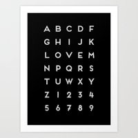 Letter Love - Black Art Print
