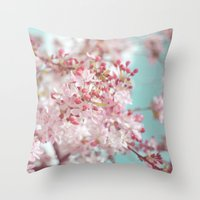 Pink Cherry Blossom Throw Pillow