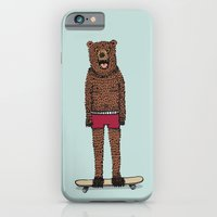 iPhone & iPod Case featuring Bear + Skateboard by Lara Trimming