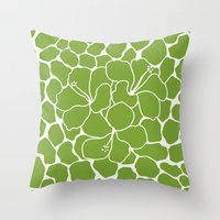 Hibiscus Animal Green Throw Pillow
