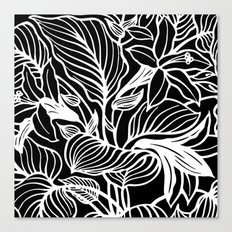 Black White Floral Canvas Print