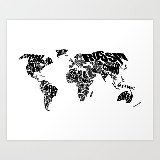 Black And White World Map Rug: Black And White Art Print By Ink Of Me