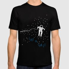 lost in space astronaut Black SMALL Mens Fitted Tee