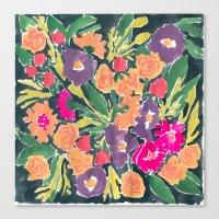 Black Floral Canvas Print