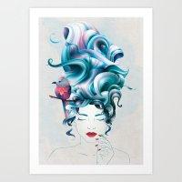 A girl with aqua hair Art Print
