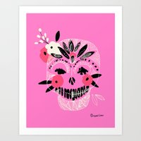 Tribal Boho Skull Art Print