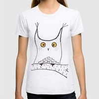 Squarish Owl Womens Fitted Tee Ash Grey SMALL