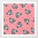 Roses and Dots Art Print