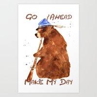 Bear painting, bear illustration, humor, animal art, hunter gift Art Print