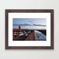 Boats in Lynmouth Harbour at dawn twilight. Devon, UK. Framed Art Print