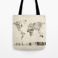 Map of the World Map from Old Postcards Tote Bag