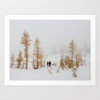 Walking In Larch Land Art Print