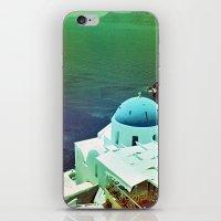 Blue Dome Church, Santorini: Shot with a Nikon FM2 and Revolog 600nm film iPhone & iPod Skin