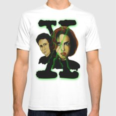 X-files 2 SMALL White Mens Fitted Tee