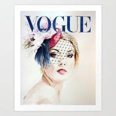 Vogue Magazine Cover. Hat by Ella Gajewska. Fashion Illustration Art Print