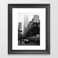 El On A Foggy Day Chicag… Framed Art Print