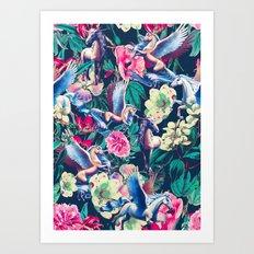 Unicorn and Floral Pattern Art Print