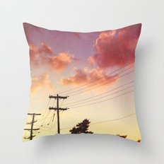 Red hot summer sun set Throw Pillow