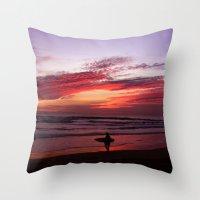 California Beach Sunset Throw Pillow