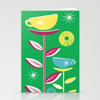 Teacups - Green Stationery Cards