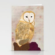Barn Owl With Roses Stationery Cards