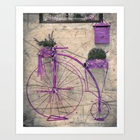 Lavender Bicycle Art Print