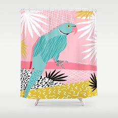 Doin' It - blue india ringneck parrot bird art wacka design animal nature retro throwback neon 1980s Shower Curtain