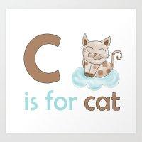 c is for cat, children alphabet for kids room and nursery Art Print