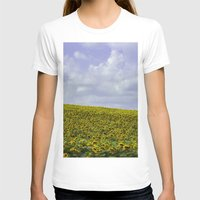 Field of Happiness - Sunflowers  Womens Fitted Tee White SMALL