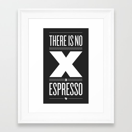No X in Espresso – Dark Grey Framed Art Print