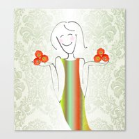 She Brings Tulips. Canvas Print
