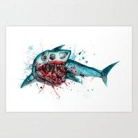 Shark Skeleton Watercolo… Art Print