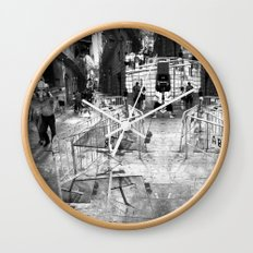 Summer space, smelting selves, simmer shimmers. 22, grayscale version Wall Clock