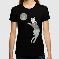 Cat Trying To Catch The … Womens Fitted Tee Black SMALL
