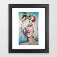 Girl With The Horn Framed Art Print