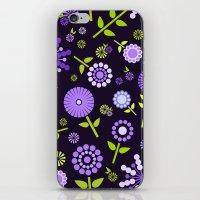 Retro purple flowers  iPhone & iPod Skin