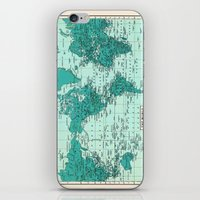 World Map in Teal iPhone & iPod Skin