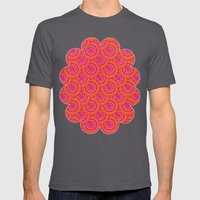 Tropical Parasols Pattern Mens Fitted Tee Asphalt SMALL