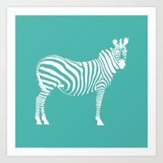 Big Teal Zebra Art Print