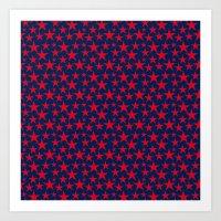 Red stars on bold blue background illustration Art Print