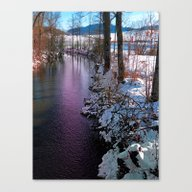 Quiet River In Winter Ti… Canvas Print