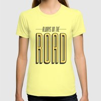 Always On The Road Womens Fitted Tee Lemon SMALL