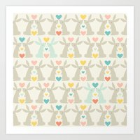 Bunnies and Hearts Art Print