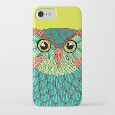owl - Lime green iPhone 7 Slim Case