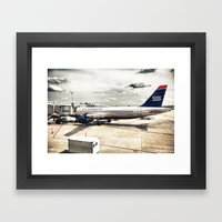 US Aiways Plane At Ronal… Framed Art Print