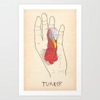 Hand turkey Art Print