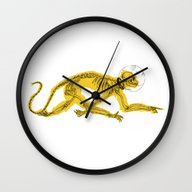 Wall Clock featuring Space Monkey by PAFF