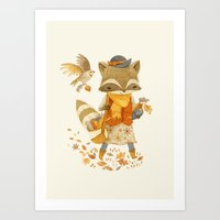 Rebecca the Radish Raccoon Art Print