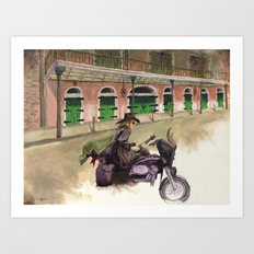 French Quarter Motorcycle Guitarist Art Print